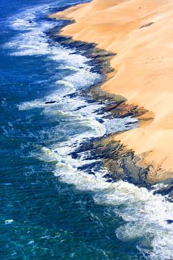 AF31JAM0030 Skeleton Coast, Namibia. Aerial view of the sand dune coast line.