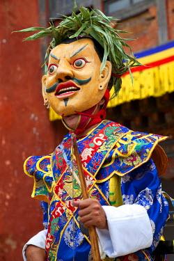 AS04PAD0003 Masked dancer, Tshechu Festival at Wangdue Phodrang Dzong Wangdi, Bhutan