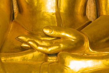 AS06IHO0364 Myanmar. Bagan. Htilominlo Temple. Golden Buddha hand.