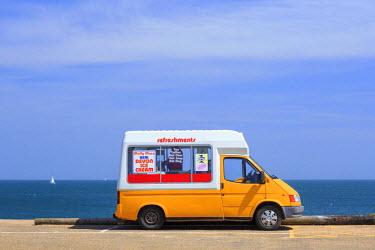 ENG12903AW England, South Devon, Torcross. Ice cream van at Slapton Sands near Torcross.