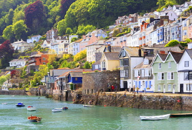 England, South Devon, Dartmouth. Colourful buildings and boats at the River Dart.