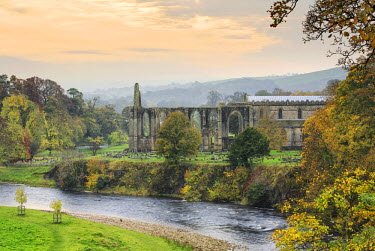ENG12982AW England, Wharfedale. The ruins of the Bolton Abbey monastery in autumn.