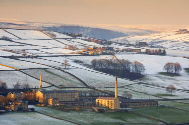 England, Calderdale. The mills of Luddenden at sunset.