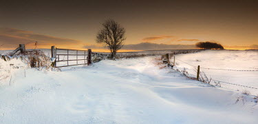 England, Calderdale. A winter sunrise in West Yorkshire.