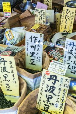 JP03779 Nuts & pulses for sale, Tsukiji Central Fish Market, Tokyo, Japan