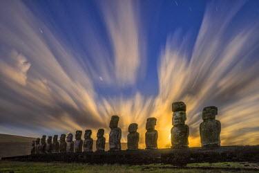 CHI9009AW South America, Chile, Easter Island, Isla de Pascua, Moai stone human figures under a  night sky at moonrise
