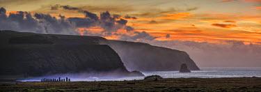 CHI9014AW South America, Chile, Easter Island, Isla de Pascua, Moai stone human figures at sunrise