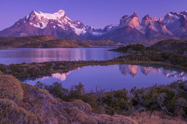 CHI9030AW South America, Patagonia, Chile, Torres del Paine National Park, reflection of the Andes mountains at Cuernos del Paine