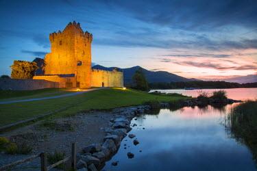 EU15BJN0072 Twilight over Ross Castle (b. 15th Century) on Lough Leane near Killarney, County Kerry, Ireland