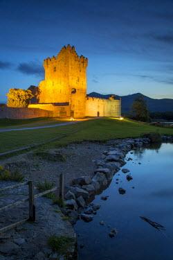 EU15BJN0073 Twilight over Ross Castle (b. 15th Century) on Lough Leane near Killarney, County Kerry, Ireland