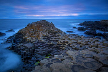 EU15BJN0136 Twilight over the Giant's Causeway along the northern coast, County Antrim, Northern Ireland, UK