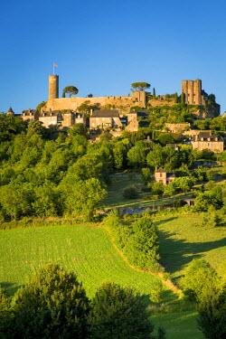 EU09BJN1853 Evening sunlight on medieval town of Turenne, Limousin, Correze, France
