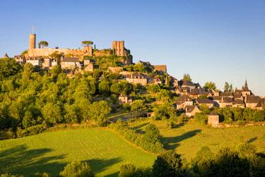EU09BJN1854 Evening sunlight on medieval town of Turenne, Limousin, Correze, France
