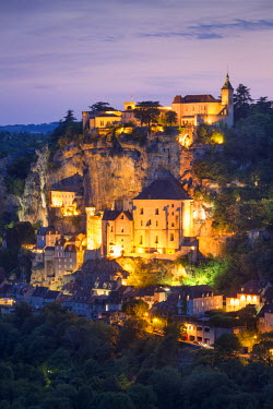 EU09BJN1869 Twilight view over Medieval town of Rocamadour, Lot Department, Midi-Pyrenees, France