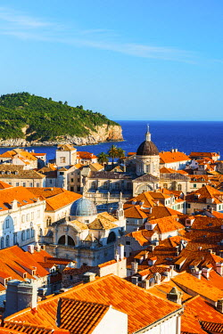 CRO1444AW Croatia, Dalmatia, Dubrovnik, Old town, View of the rooftops and island of Lokrum