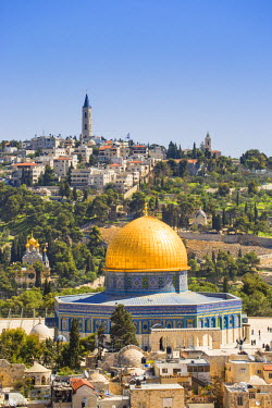 IS01762 Israel, Jerusalem, View of the Old City,  Dome of the Rock on Temple Mount, and the Mount of Olives
