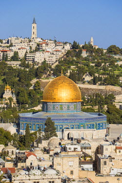IS01767 Israel, Jerusalem, View of the Old City,  Dome of the Rock on Temple Mount, and the Mount of Olives