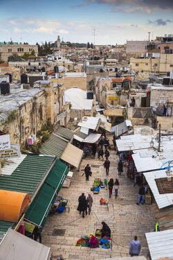 IS01860 Israel, Jerusalem, Old City, View over Muslim Quarter below Damascus Gate