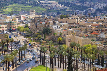 IS01863 Israel, Jerusalem, View of Old Ciy looking towards Damascus Gate