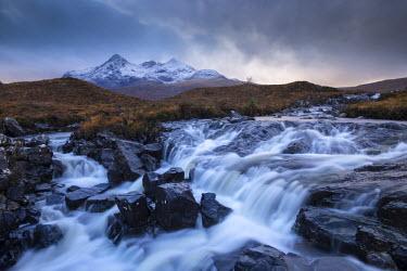 SCO33984AW Allt Dearg Mor River and Sgurr nan Gillean mountain, Glen Sligachan, Isle of Skye, Scotland. Autumn (November) 2012.
