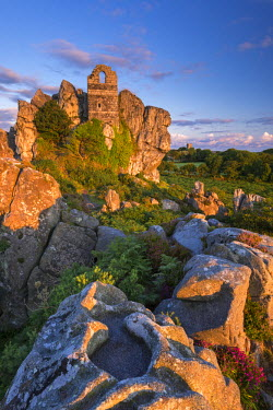 ENG13239AW 15th Century ruined chapel on top of Roche Rock, Roche, Cornwall, England. Summer (July) 2015.