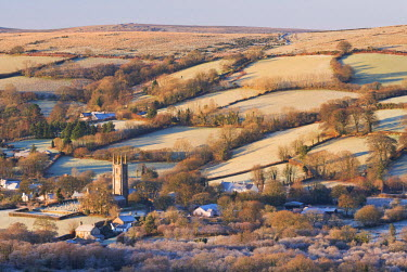 ENG13199AW Widecombe in the Moor on a frosty winter morning, Dartmoor, Devon, England. Winter (December) 2014.