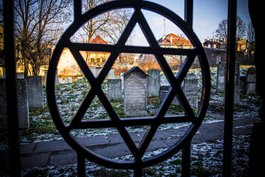 CLKSL36219 Krakow, Poland, North East Europe. Star of David symbol on the fence of the old Jewish cemetery.