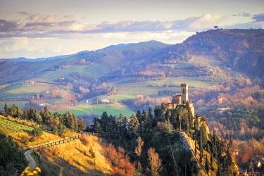 CLKSL36609 Brisighella, Ravenna, Emilia Romagna, Italy, Europe. The clocktower on the hill.