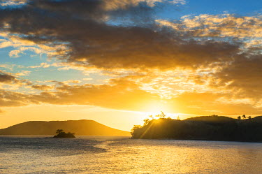 Sunset over the beach of Safe Landing Resort, Nacula Island, Yasawa, Fiji, South Pacific