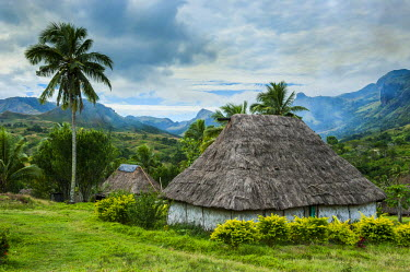 Traditional thatched roofed huts in Navala in the Ba Highlands of Viti Levu, Fiji, South Pacific