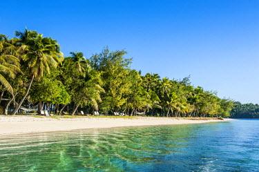 OC01MRU0129 White sand beach, Nanuya Lailai island, the blue lagoon, Yasawa, Fiji, South Pacific