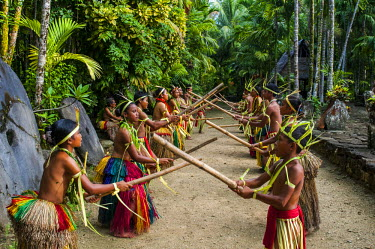 OC18MRU0124 Stick dance from the tribal people of the island of Yap, Micronesia