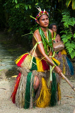 OC18MRU0126 Stick dance from the tribal people of the island of Yap, Micronesia