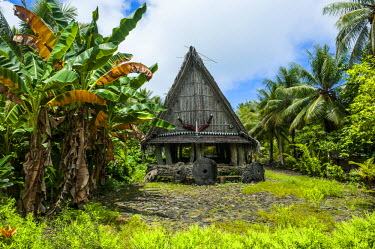 OC18MRU0148 Traditional house with stone money in front, Island of Yap, Micronesia