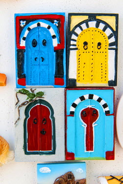 AF47NTO0006 Paintings of Tunisian doors, Tunisia, North Africa