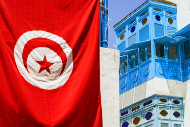 AF47NTO0010 Balcony and window, Sidi Bou said, Tunisia, North Africa