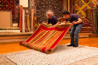 AS37EWI0049 Turkey, Cappadocia, Nevsehir, Urgup. Carpet store. Turkish Carpet weaving is one of the oldest professions in the world