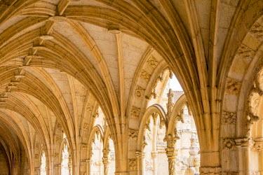 EU23EWI0114 Portugal, Belem. Granada Monasterio De San Jeronimo. UNESCO World Heritage Site. Cloister balconies, hallway views.