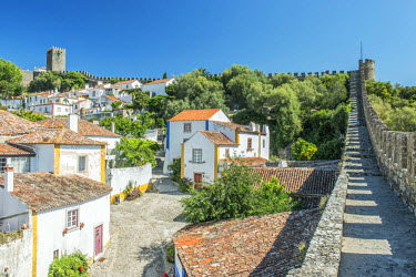 EU23RTI0033 Portugal, Obidos, Looking Down on the Historic Center from the City Wall