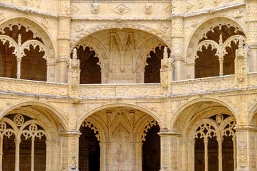EU23EWI0240 Portugal, Belem. Granada Monasterio De San Jeronimo. A UNESCO World Heritage Site. Cloister views.
