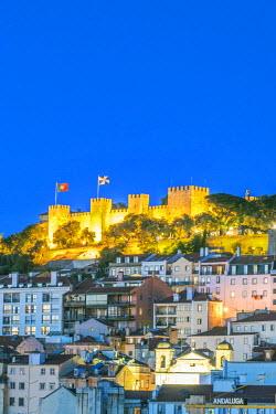 EU23RTI0075 Portugal, Lisbon, Sao Jorge Castle at Dusk