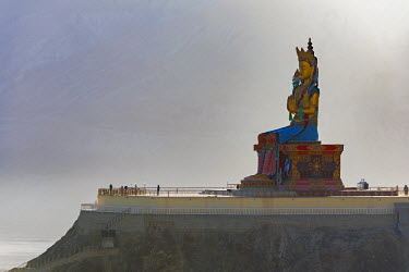 IND8045 32 metre statue of Maitreya Buddha, Diskit Monastery, Nubra Valley, Ladakh
