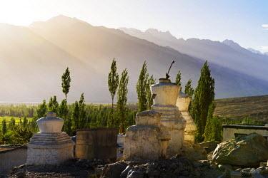 IND8052 Buddhist Chortens near the village of Sumur, Nubra Valley, Ladakh