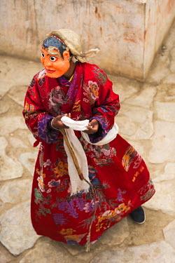 IND8080 Masked Cham dancers, Korzok Gustor Festival, Tso Moriri, Ladakh, Korzok Gustor Festival, Tso Moriri, Ladakh
