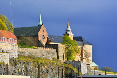 NOR0852AWRF Akershus Fortress (Akershus Festning), an iconic guardian of Oslo. Norway