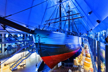 """NOR0805AW Fram Museum, Bygdoy. Fram (""""Forward"""") is a ship that was used in expeditions in the Arctic and Antarctic regions by the Norwegian explorers. Oslo, Norway."""