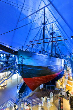 """NOR0806AW Fram Museum, Bygdoy. Fram (""""Forward"""") is a ship that was used in expeditions in the Arctic and Antarctic regions by the Norwegian explorers. Oslo, Norway."""