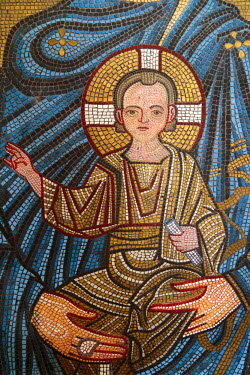 AS08ALA0379 Georgia, Kutaisi. Religious artwork inside the Gelati Monastery.