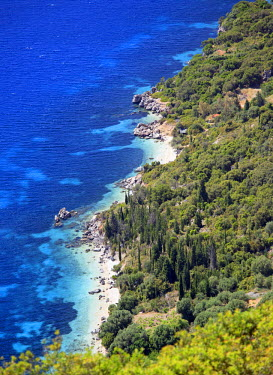 GRE1286AW Greece, Ionian Islands, Ithaca. An overhead view of the west coast of Ithaca.