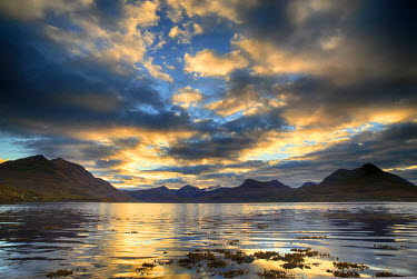 SCO34091AW Scotland, Highland, Torridon. Sunrise at Upper Loch Torridon in the Northwest Highlands.